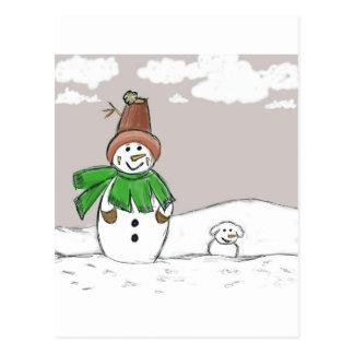 Snowman and Snowdog Postcard