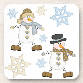 Snowman and Snowflake Holiday Coaster