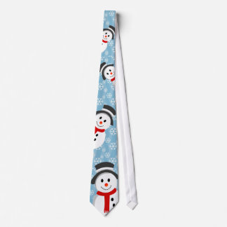 Snowman and Snowflake Pattern Neck Tie