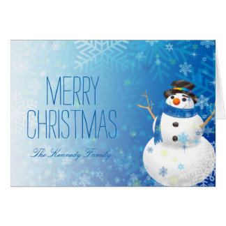Snowman and snowflakes card