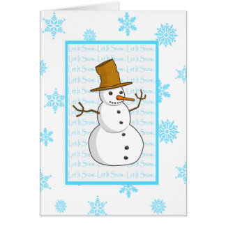Snowman and Snowflakes Let It Snow Christmas Card