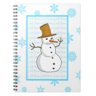 Snowman and Snowflakes Let It Snow Christmas Notebook