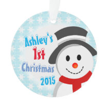Snowman and Snowflakes Ornament