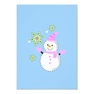 Snowman and snowflakes screen small 5x7 paper invitation card