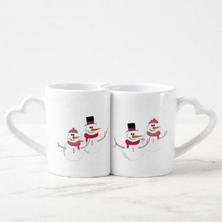 Snowman and Snowwoman in love Coffee Mug Set