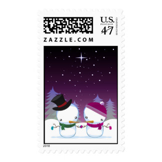 snowman and snowwoman postage