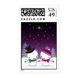 snowman and snowwoman stamps