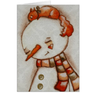 Snowman and Squirrel - Holiday Card