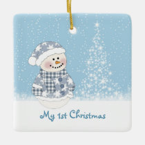 Snowman and tree Baby's 1st Christmas Ceramic Ornament