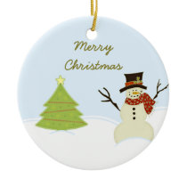 Snowman and Tree Christmas Ornament