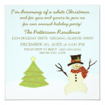 """Snowman and Tree Christmas Party Invite 5.25"""" Square Invitation Card"""