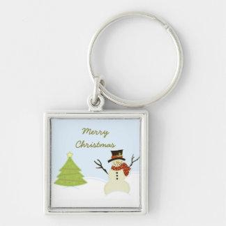 Snowman and Tree Christmas Premium Keychain