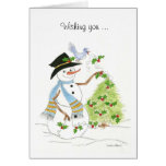 Snowman and tree with Holly Cards