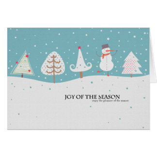 snowman and trees holiday card