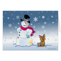 Snowman And Yorkie Christmas Card at Zazzle