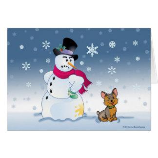 Snowman and Yorkie Christmas card