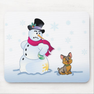 snowman and Yorkshire Terrier Mouse Pad