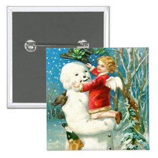 Snowman Angel Cherub Four Leaf Clover Pinback Button