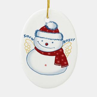 Snowman Angel Oval Ceramic Ornament
