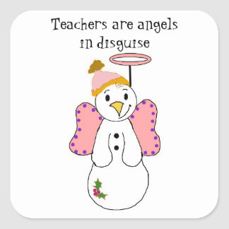 Snowman Angel With Teacher Saying Square Sticker