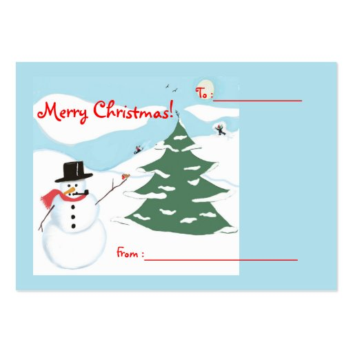 Snowman Art Christmas Gift Tag Business Card Template