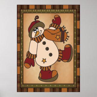 Snowman Art Poster