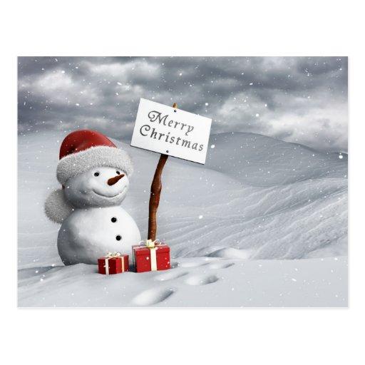 Snowman at Christmas Postcards