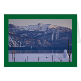 Snowman at edge of Lake Tahoe Greeting Card