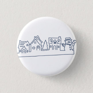 Snowman at Holy Night Button