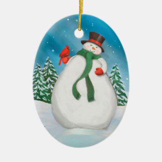 Snowman At Night Oval Christmas Ornament