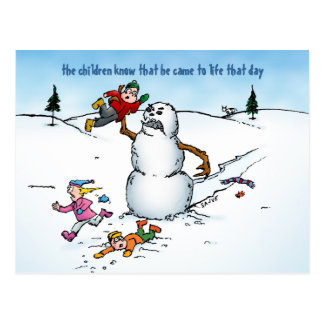 Snowman Attacks the Kids Funny Holiday Postcard