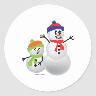Snowman & Baby Classic Round Sticker