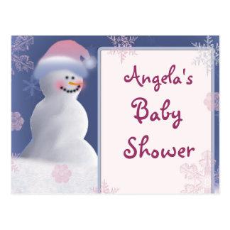 Snowman Baby Shower Invitation Postcard