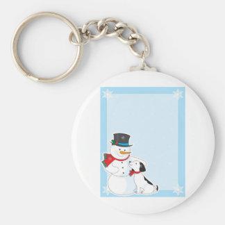 Snowman Background Basic Round Button Keychain