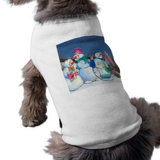 Snowman band singing on the hillside dog tee