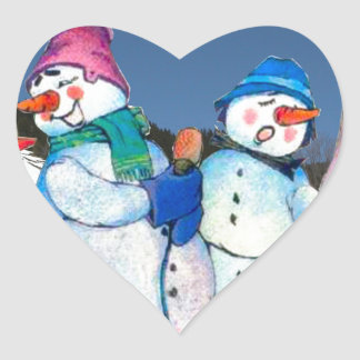 Snowman band singing on the hillside heart sticker