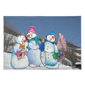 Snowman band singing on the hillside placemats