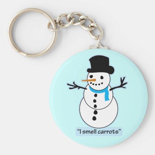snowman basic round button keychain