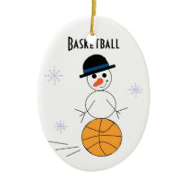 Snowman Basketball Player Ceramic Ornament