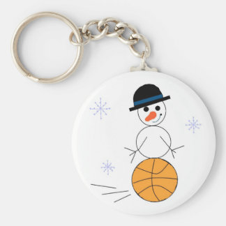Snowman Basketball Player Keychain