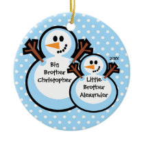 Snowman Big & Little Brother Christmas Ornament