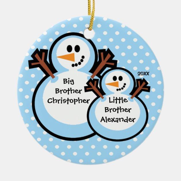 Big Brother Christmas Ornament Part - 15: Snowman Big U0026 Little Brother Christmas Ornament   Zazzle.com