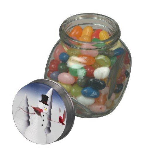Snowman & bird friends jellybean jars & tins glass candy jars