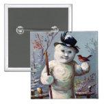 Snowman Bird Winter Snow Songbird 2 Inch Square Button