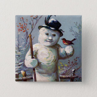 Snowman Bird Winter Snow Songbird Button