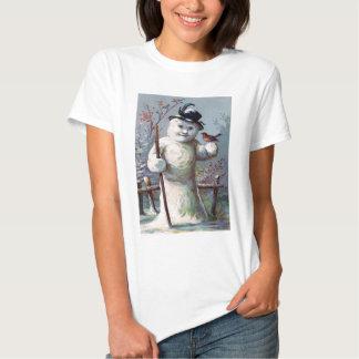 Snowman Bird Winter Snow Songbird T Shirt