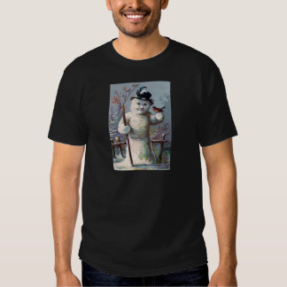 Snowman Bird Winter Snow Songbird Tee Shirt
