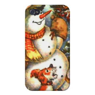 Snowman Birds and Puppy iPhone 4 Case