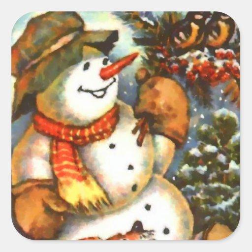 Snowman Birds and Puppy Square Sticker