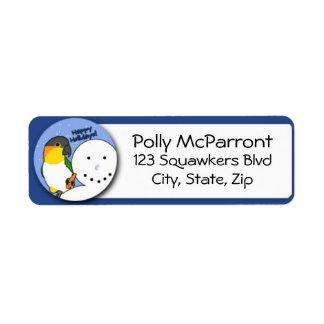 Snowman Black Headed Caique Return Address Label